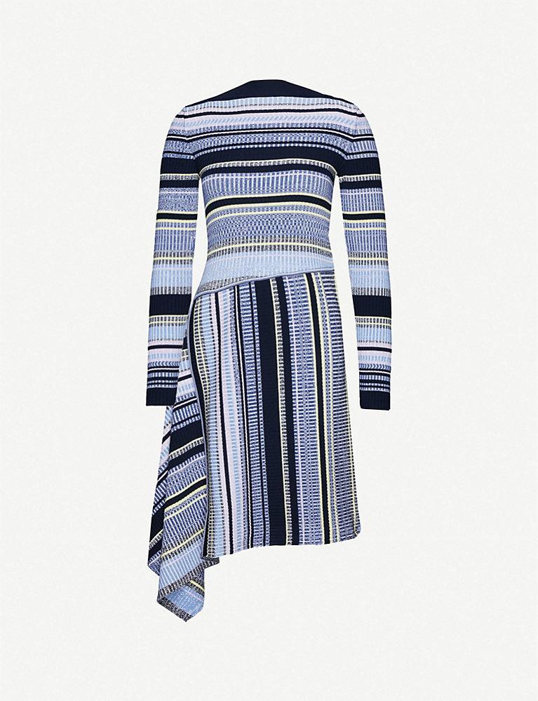 Sportmax Lama asymmetric striped stretch-knit midi dress