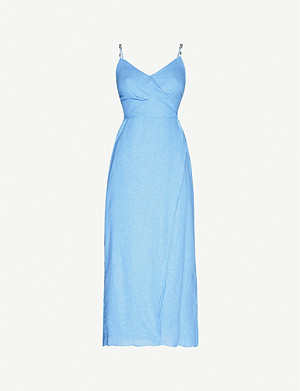 VIX Connie linen-blend midi dress