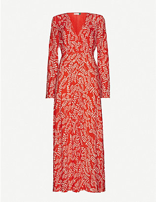 RIXO: Sonja leaf-print crepe maxi-dress