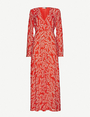 RIXO Sonja leaf-print crepe maxi-dress