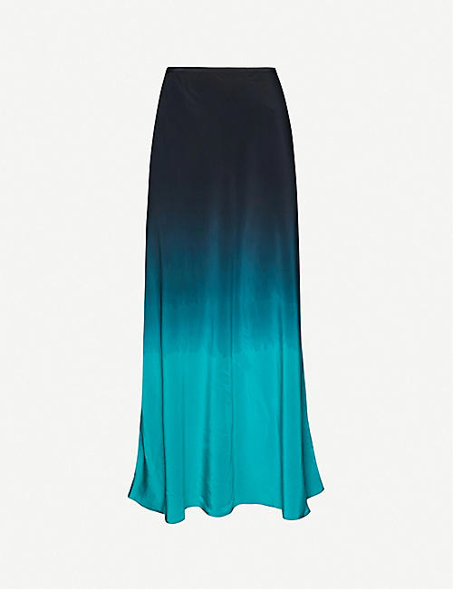 RIXO: Kelly ombré silk midi skirt