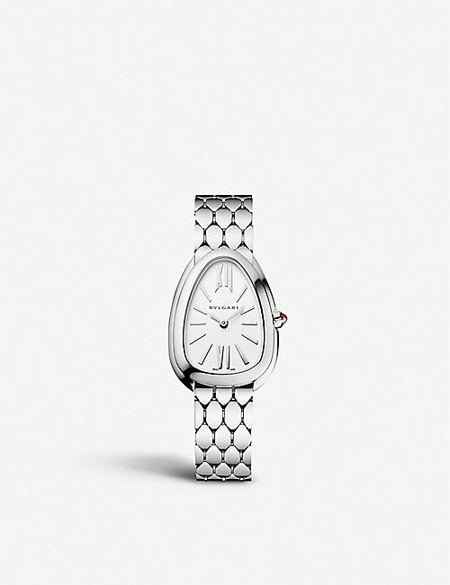 BVLGARI: 103141 Serpenti Tubogas stainless steel and opaline watch