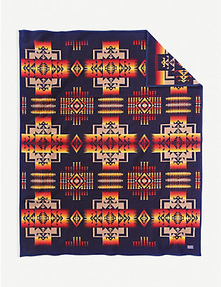 PENDLETON: Chief Joseph wool and cotton-blend blanket 163cm x 203cm