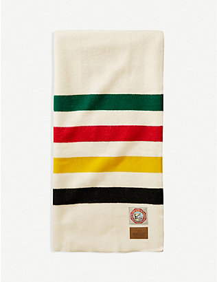 PENDLETON: Glacier National Park striped wool throw 193cm x 137cm