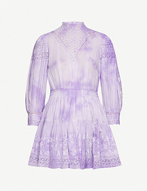 LOVESHACKFANCY Viola tie-dye cotton mini dress