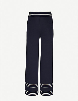 ODYSSEE: Rowland striped-trim wide-leg knitted trousers