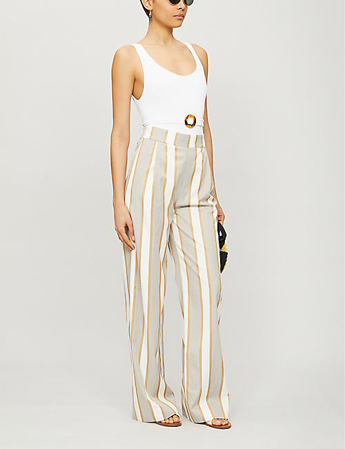 ODYSSEE Striped high-rise wide-leg viscose and cotton-blend trousers