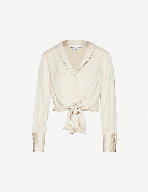 TOPSHOP Tie-front slim-fit V-neck crepe shirt