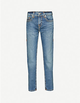 TRUE RELIGION: Faded slim stretch-jeans