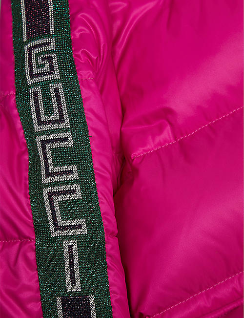 GUCCI Logo-stripe padded shell coat 4-10 years