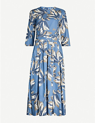 S MAX MARA: Graphic-print cotton-poplin midi dress