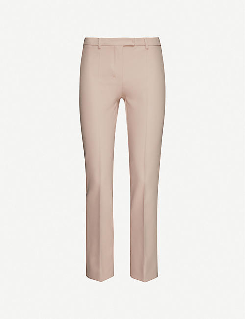 S MAX MARA: High-rise cropped stretch-crepe trousers