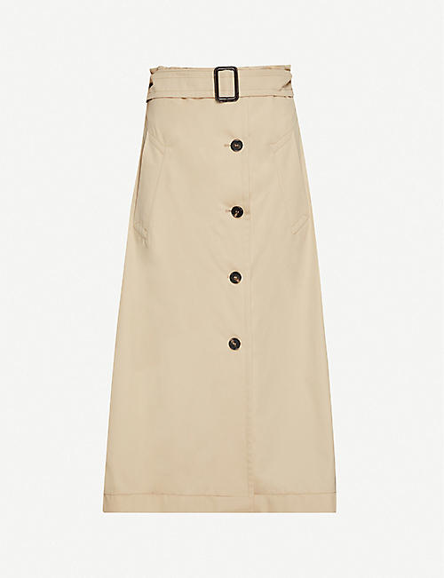 S MAX MARA: Lisotte button-down high-waist cotton-twill midi skirt