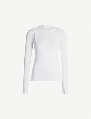 HELMUT LANG Layered ribbed cotton-jersey T-shirt