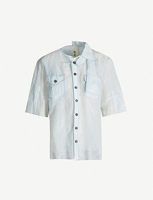 WEN PAN Cut-out asymmetric silk-blend shirt