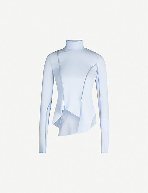 WEN PAN: Asymmetric funnel-neck cotton top