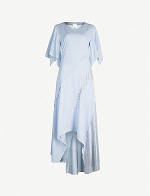 WEN PAN Asymmetric frayed-trim woven midi dress
