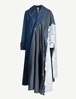 WEN PAN Print-panelled silk and cotton-blend trench coat