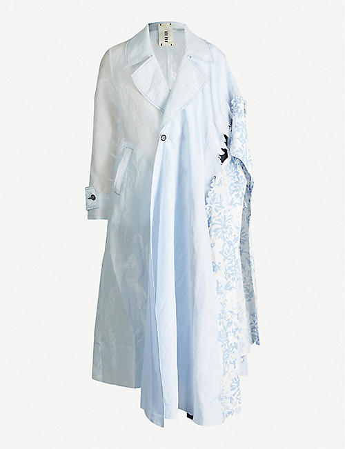 WEN PAN: Print-panelled silk and cotton-blend trench coat