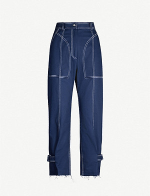 WEN PAN Raw-hem high-rise tapered cotton-twill trousers