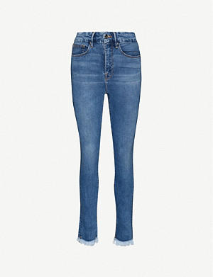 GOOD AMERICAN Good Legs frayed slim-fit skinny high-rise jeans