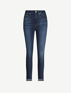 GOOD AMERICAN Good Waist stepped hem high-rise jeans