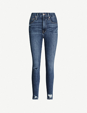 GOOD AMERICAN Good Waist chewed-hem stretch-denim jeans