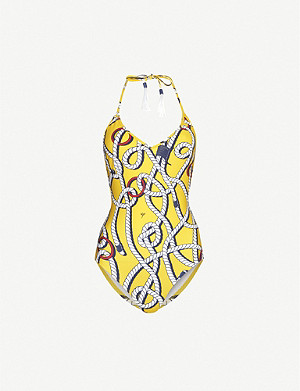 EMMA PAKE Ludovica rope-print high-leg swimsuit