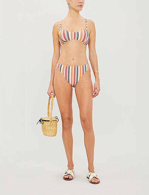 PEONY Rainbow high-rise striped bikini bottoms