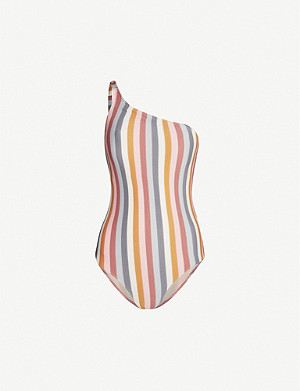 PEONY Rainbow striped high-leg swimsuit
