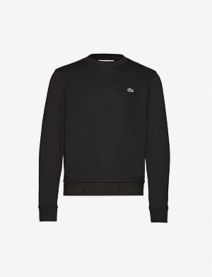 LACOSTE Logo-embroidered cotton-jersey sweatshirt