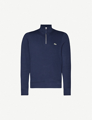 LACOSTE Funnel-neck brand-patch cotton-jersey jumper