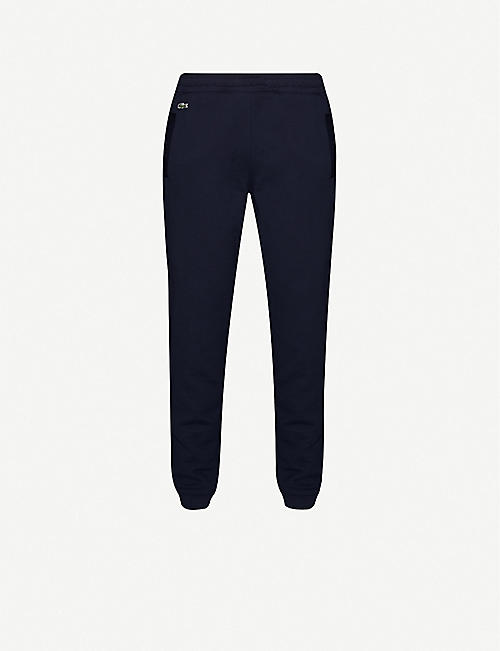 LACOSTE Logo-embroidered tapered cotton jogging bottoms