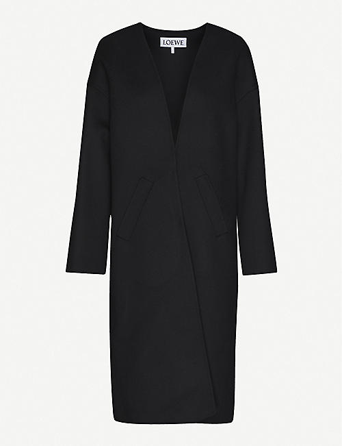 LOEWE: Collarless wool and cashmere-blend coat