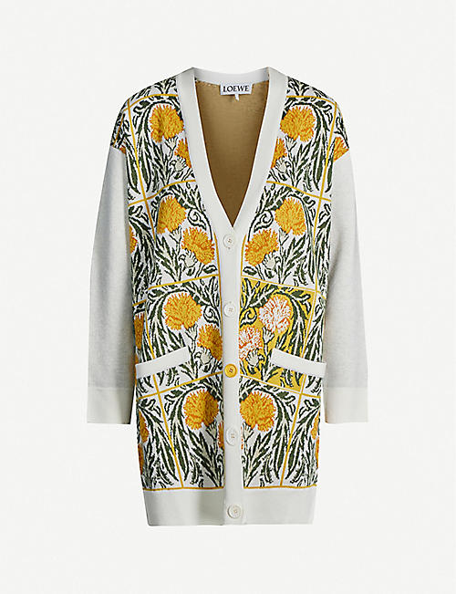 LOEWE Loewe x William De Morgan floral-embroidered wool-blend cardigan