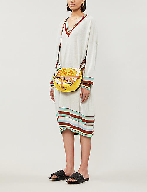 LOEWE Striped-trim wool-blend jumper dress