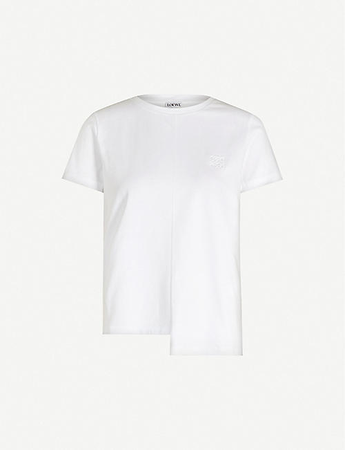 LOEWE: Asymmetric anagram-embroidered cotton-jersey T-shirt