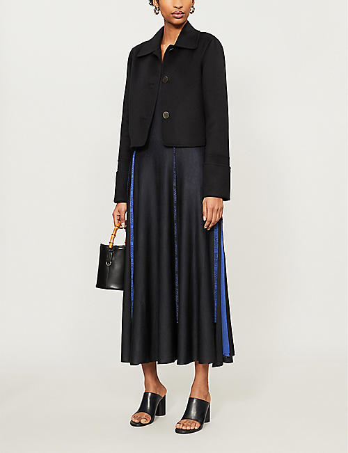 LOEWE Tape-appliqué silk-knit maxi dress