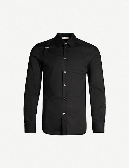 ALEXANDER MCQUEEN: Harness-embellished cotton-blend poplin polo shirt