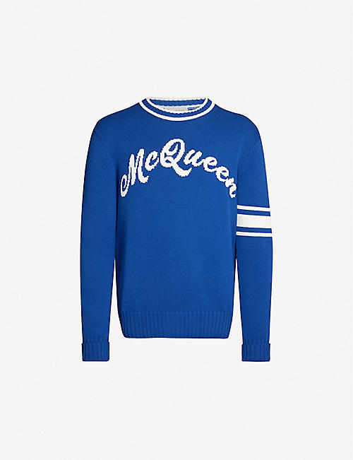 ALEXANDER MCQUEEN Logo-embroidered cotton-knit jumper