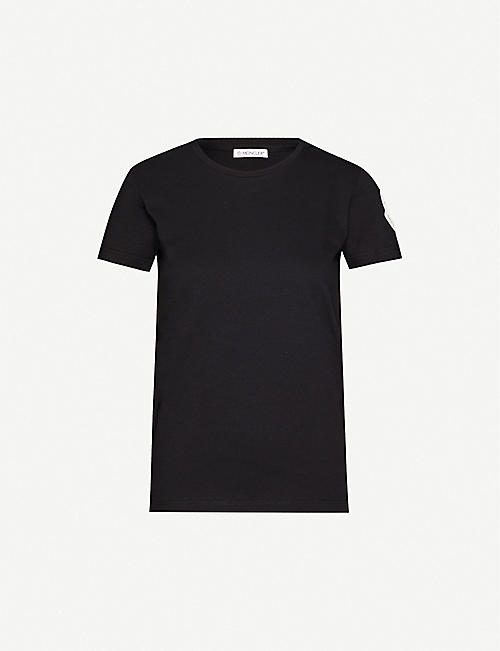 MONCLER Embroidered-patch cotton-jersey T-shirt