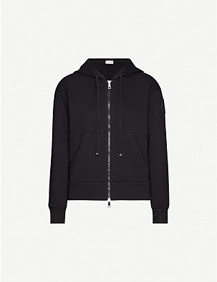 MONCLER: Embroidered-logo cotton-blend hoody