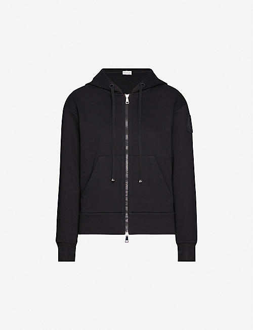 MONCLER Embroidered-logo cotton-blend hoody