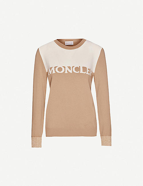 MONCLER Logo-embroidered wool and cashmere-blend jumper