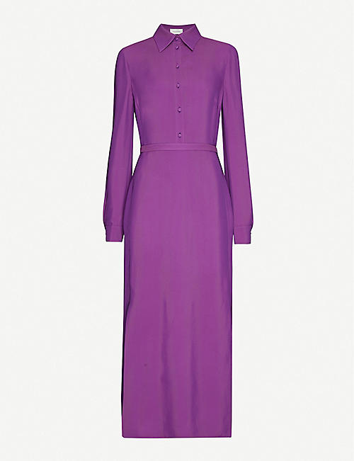 VALENTINO Collared crepe midi dress