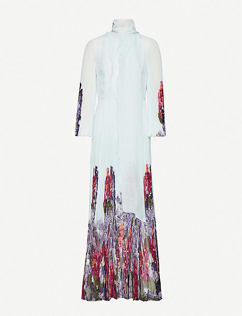 VALENTINO Floral-print pleated silk gown
