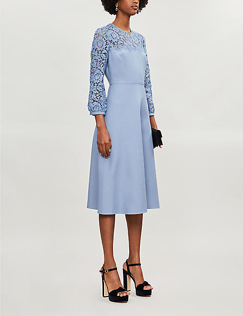 VALENTINO Lace-panelled wool and silk-blend midi dress