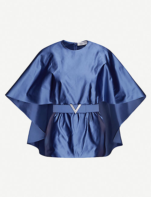 VALENTINO: Belted cape-sleeve silk-satin top
