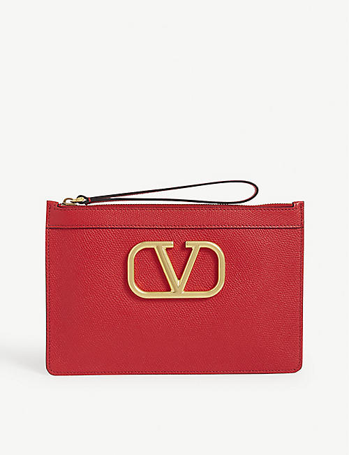 VALENTINO: V Logo leather pouch