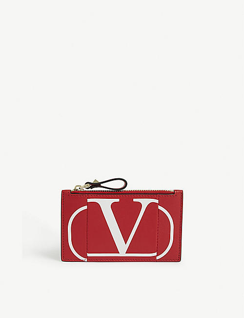 VALENTINO Inlaid 'V' logo leather coin purse